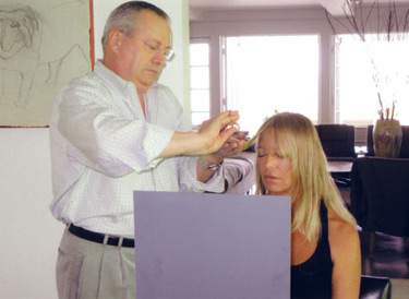 Peter Loukas cuts and styles Goldie Hawn's hair.
